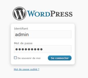 login wordpress installation