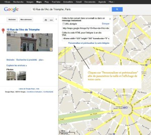 Insérer une carte Google maps lien adresse google maps 300x269