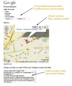 Insérer une carte Google maps personnaliser plan google maps 252x300
