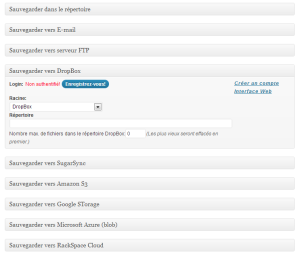 sauvegardes FTP DropBox S3