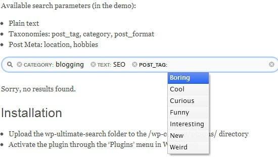 Plugin de recherche ultime sous WordPress