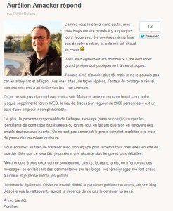 Amacker répond sur le blog de Olivier Roland