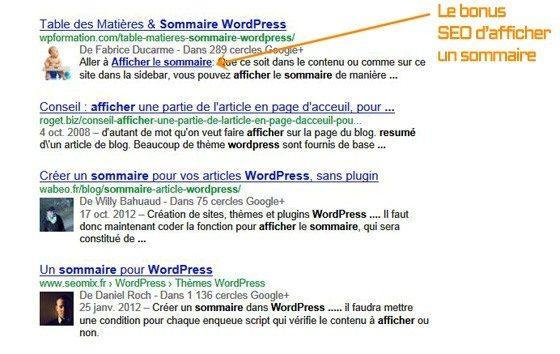 Bonus SEO d'afficher un sommaire sur WordPress