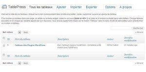 Tableaux filtrables gratuits pour WordPress TablePress Tableau de Bord 300x149