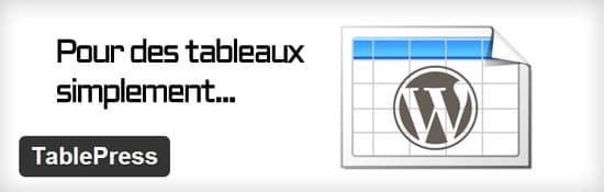 Tableaux filtrables gratuits pour WordPress TablePress Tableaux pour WordPress