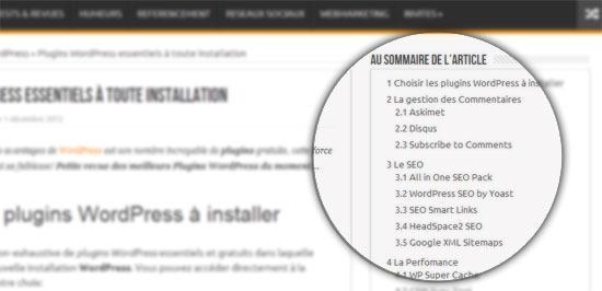sommaire table matiere wordpress Table des Matières & Sommaire WordPress