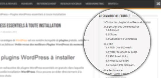 Table matières sommaire pour WordPress