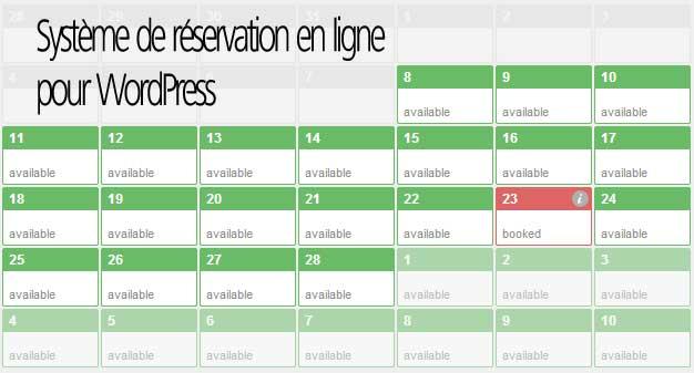 Syst me r servation en ligne wordpress et plannings for Reserver hotel et payer en ligne