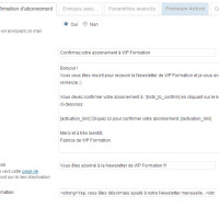 MailPoet (Wysija) Plugin Newsletter WordPress parametres wysija confirmation abonnement 200x200