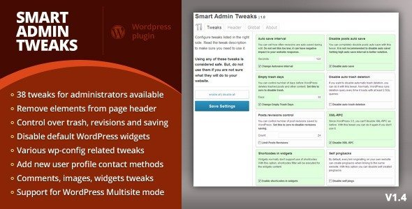 Nettoyer, optimiser & tweaker WordPress smart admin tweaks