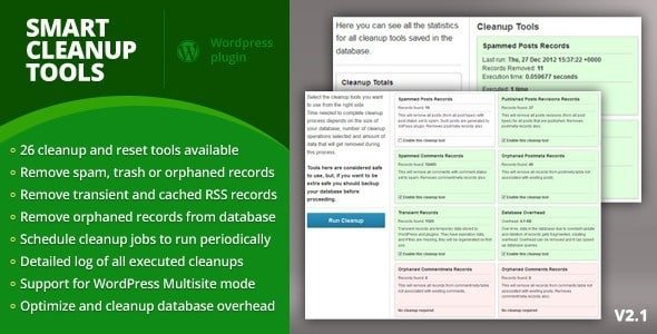 Nettoyer, optimiser & tweaker WordPress smart cleanup tools.preview