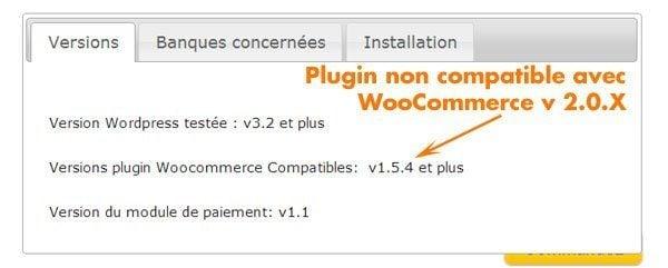 Module paiement CB Woocommerce plugin non compatible Woo v2