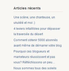 Widget derniers articles WordPress