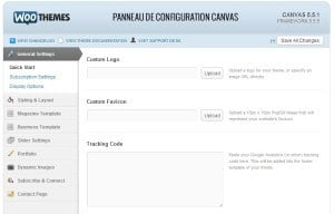 Framework WordPress : Canvas framework canvas panneau configuration 300x192