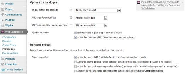 Créer un e Commerce avec WordPress options woocommerce