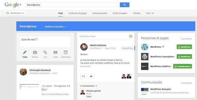Ma veille WordPress veille wordpress googleplus