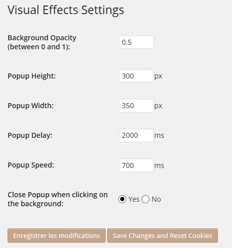 visual effect setting