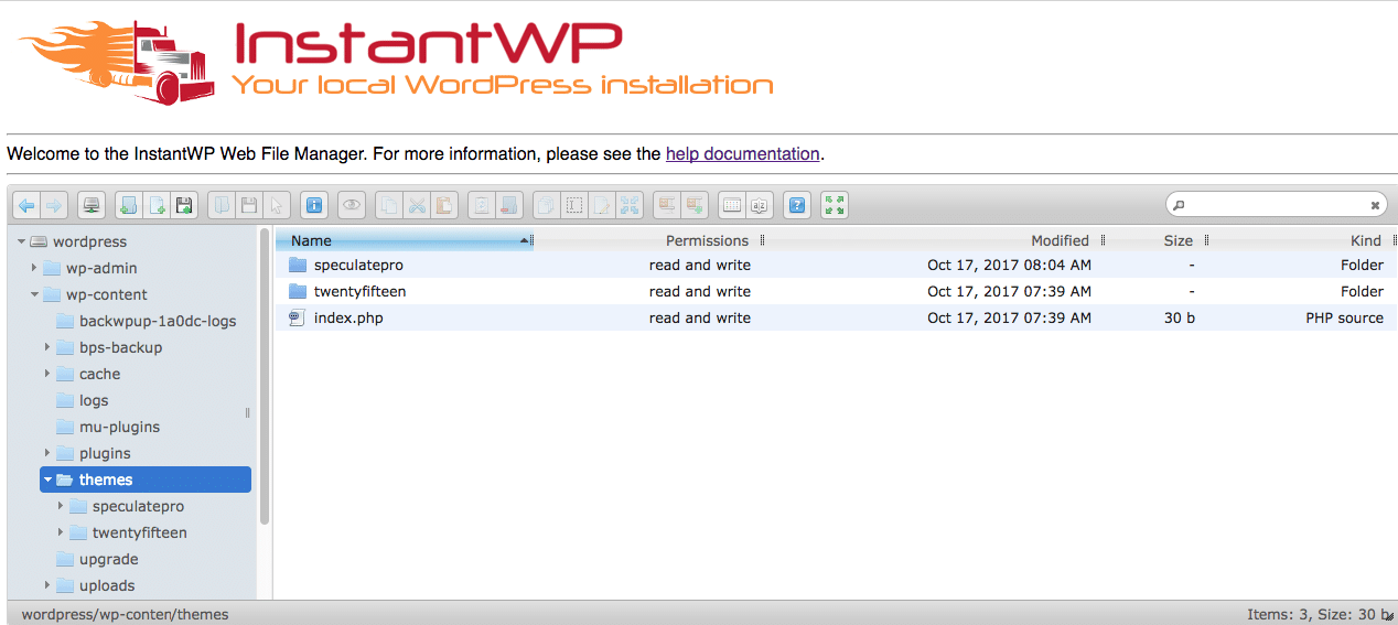 Instantwp Web File Manager