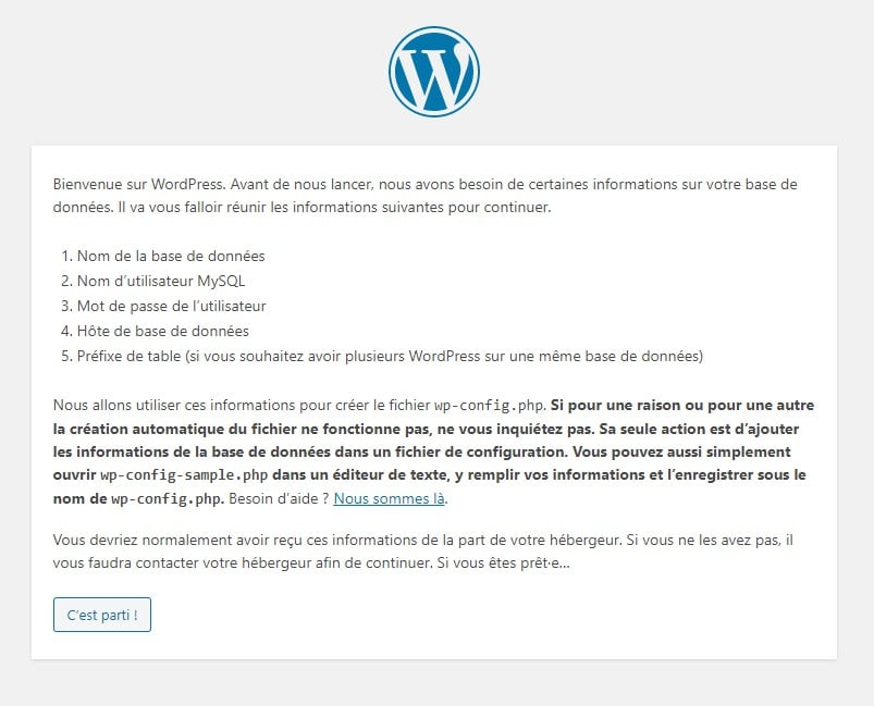 Installation WordPress 1
