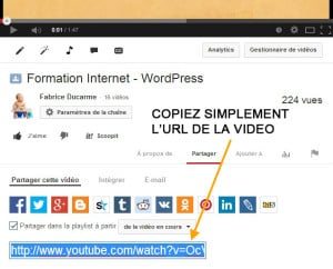 inserer video youtube wordpress