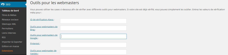 google webmaster tools wordpress