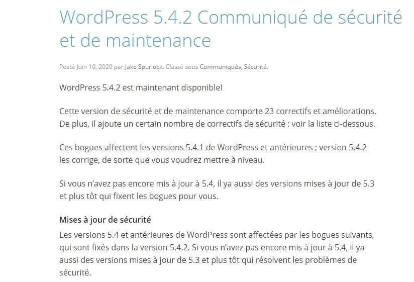 Mettre A Jour WordPress Securite