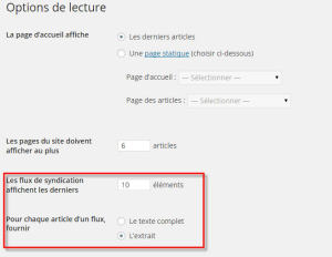 réglages flux rss wordpress