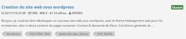 Prix WordPress Codeur