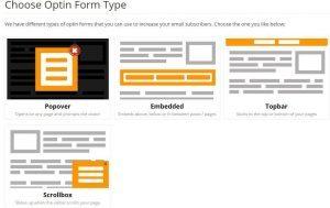chois du formulaire d'abonnement mailmunch