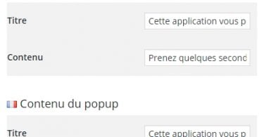 Le popup de notation/notification