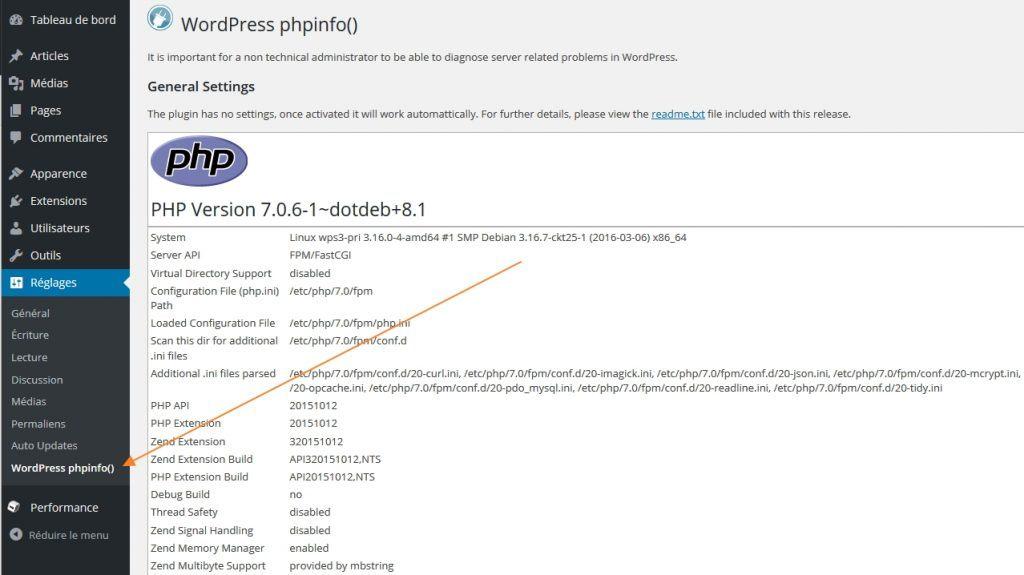 WordPress phpinfo