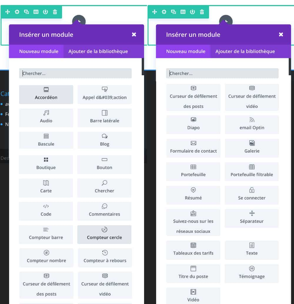 La liste des modules DIVI 3