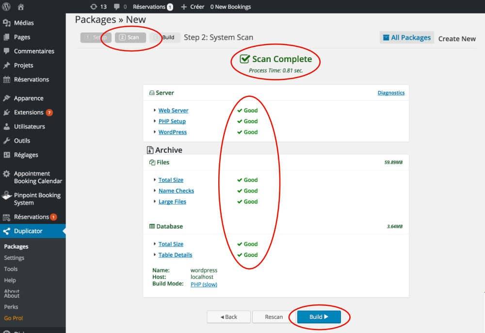 Scan du site WordPress par Duplicator