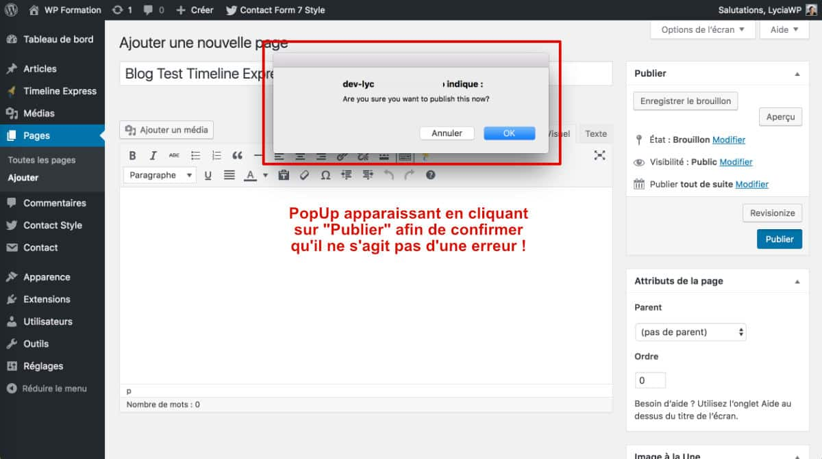 Publish Confirm - Côté Admin