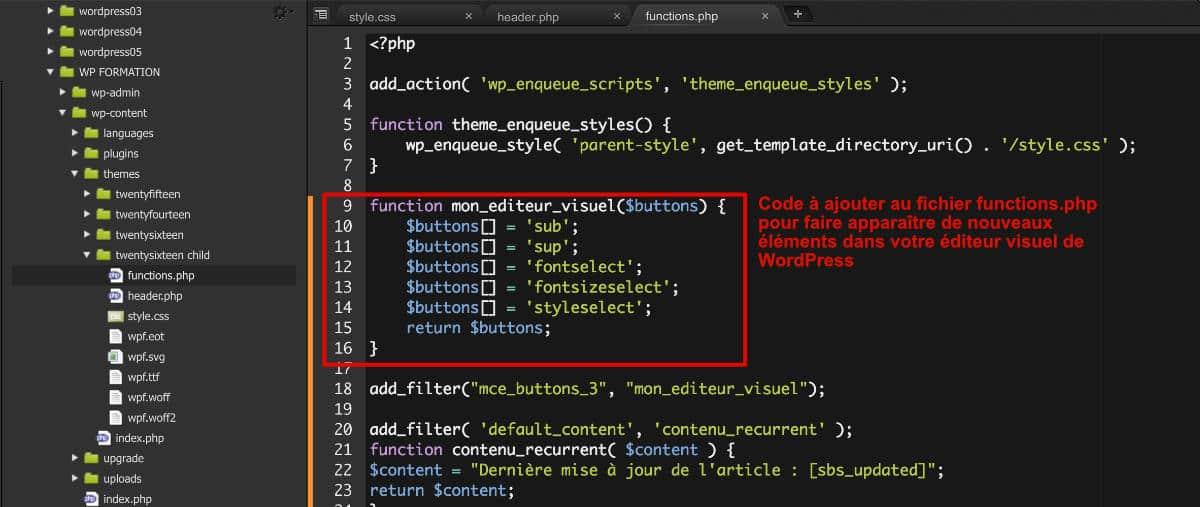 Editeur Visuel de WP modifié - Code PHP
