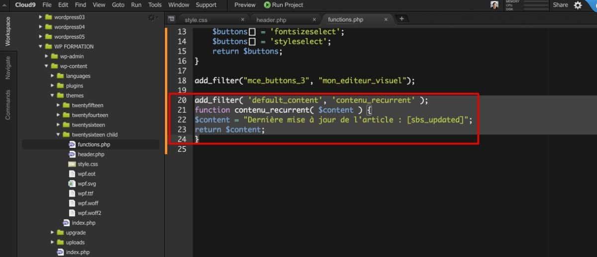 Contenu récurrent ajouté - Code PHP