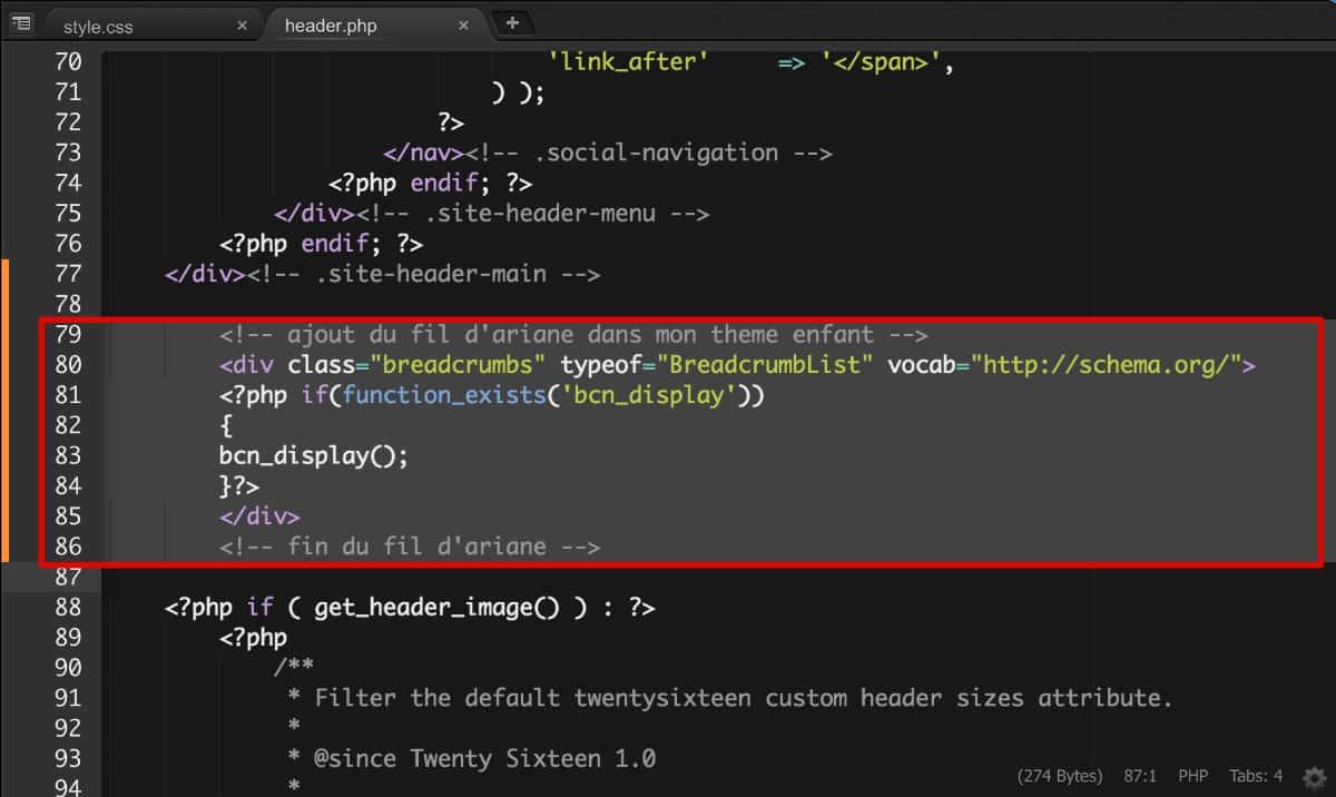 Breadcrumbs - Ajout de code PHP