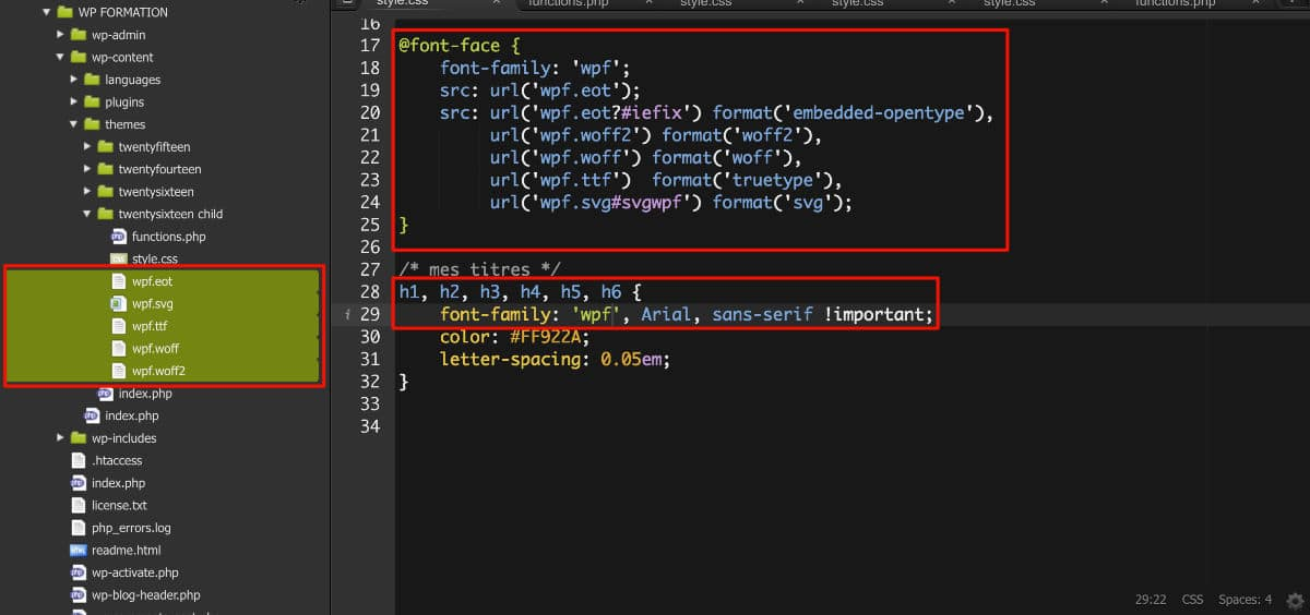 Code CSS pour font personnalisée