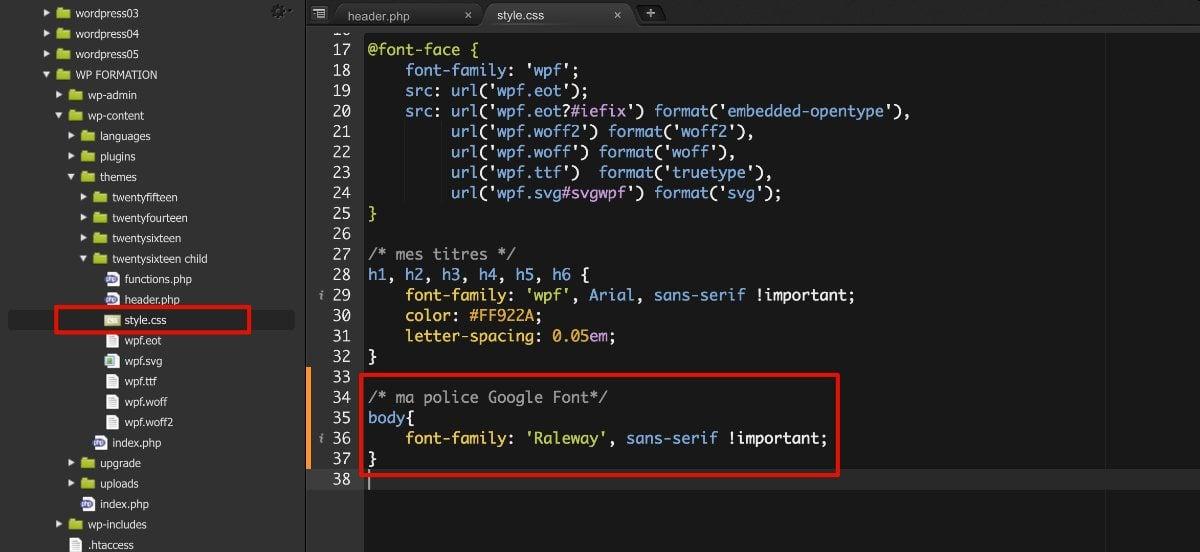Code CSS Google Font