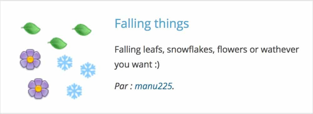 Plugin WordPress Falling Things