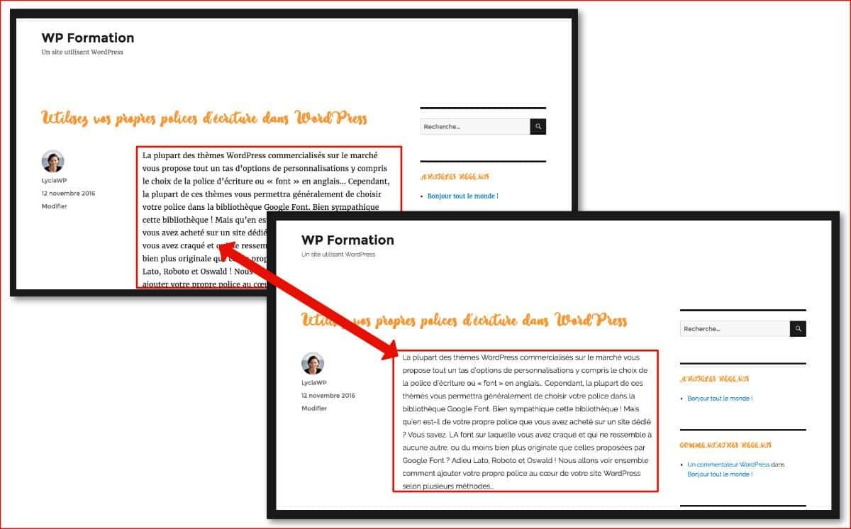 Rendu visuel Google Font