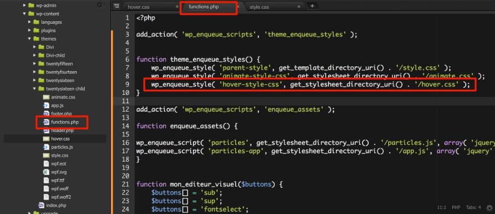 Code à ajouter au fichier functions.php