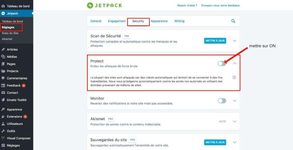 Jetpack - activer force brute