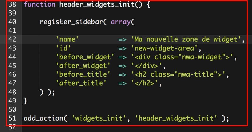 Code PHP pour nouvelle zone de widget