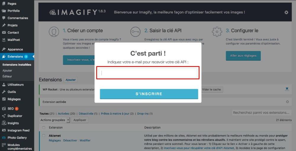 Imagify- création de compte