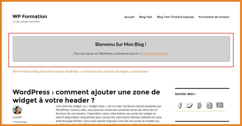 Apparence Header après modification CSS