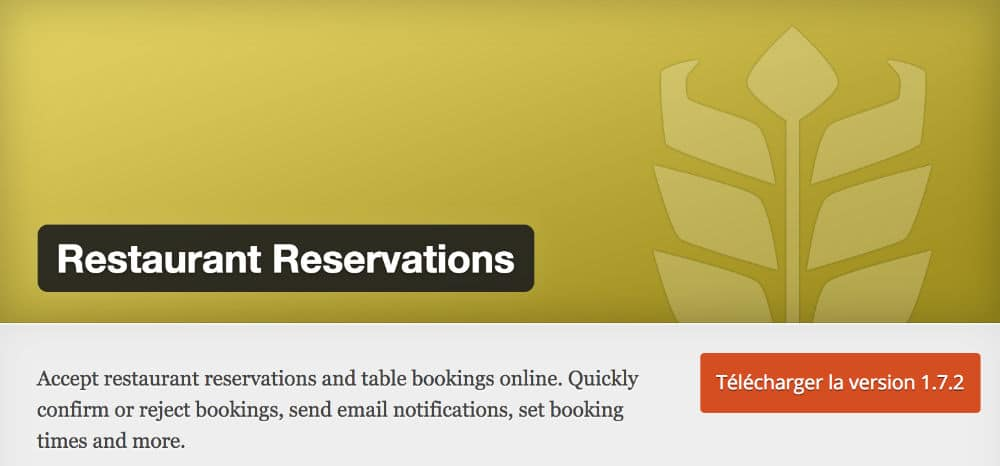 Restaurant Reservation - Plugin pour site web restaurant