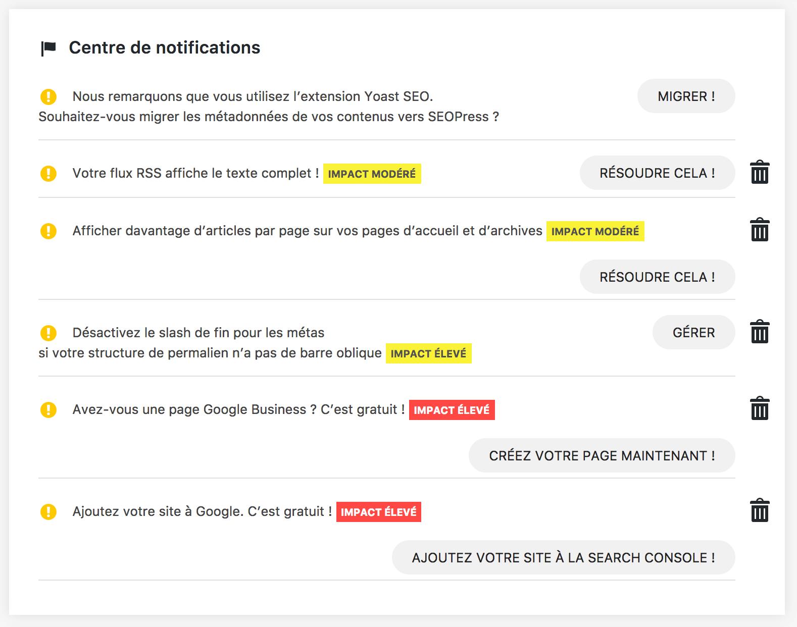 SEOPress centre notifications