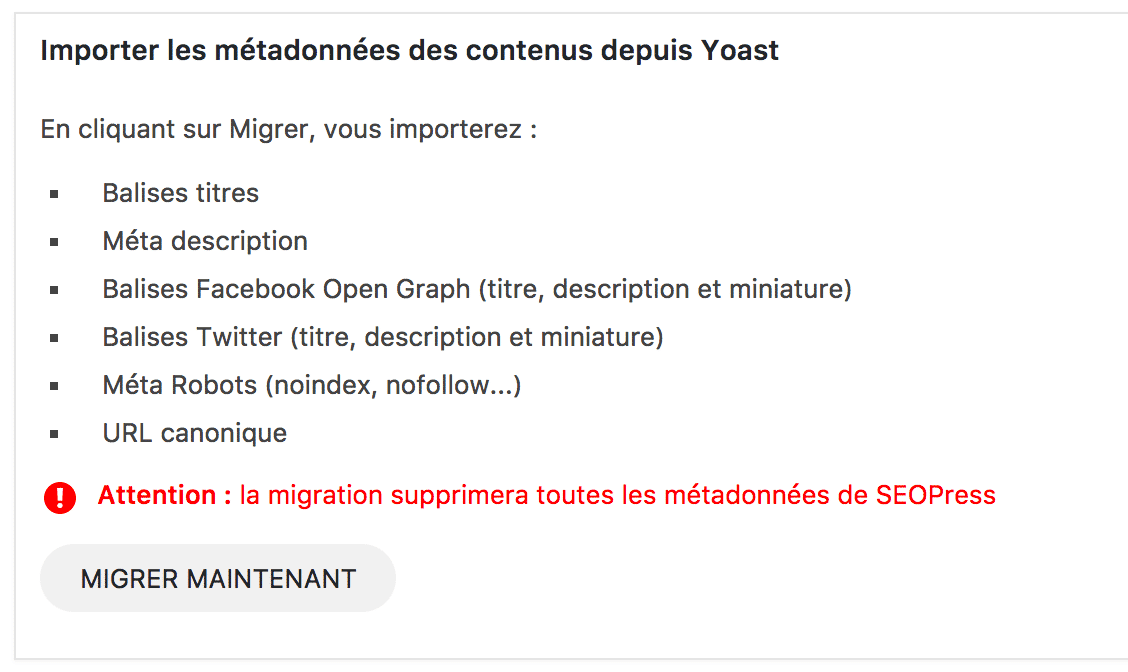 SEOPress migration Yoast