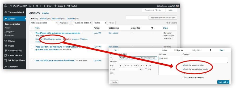 Autoriser les commentaires dans WordPress